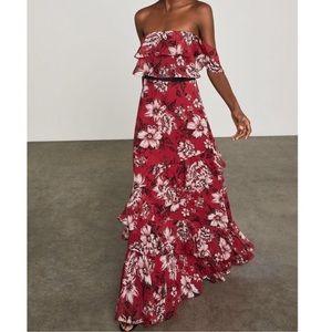 BCBGMAXAZRIA Off Shoulder Floral Ruffle Gown